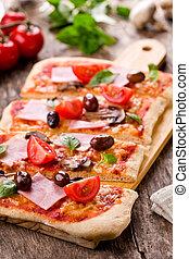 Rectangular Pizza - Homemade pizza with fresh tomatoes...