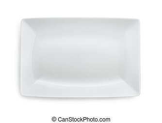 White empty rectangular plate isolated on white