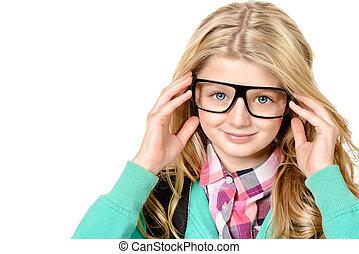 rectangular - Portrait of a smart ten years girl in big...