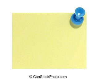 Rectangular postit with blue pin