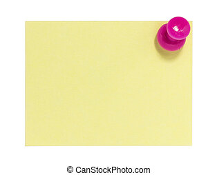 Rectangular postit with pink pin