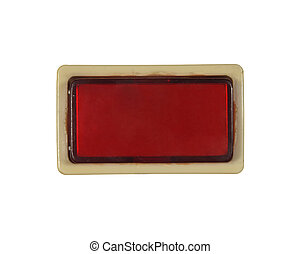 rectangular red button isolated on white background.