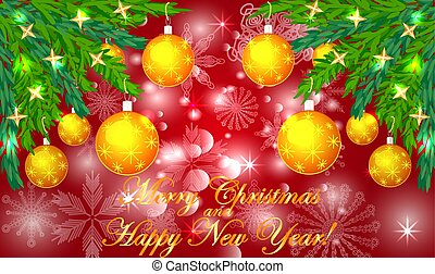 Rectangular red christmas background with snowflakes, coniferous branches, decorated with yellow balls, stars. The inscription Merry Christmas and a Happy New Year