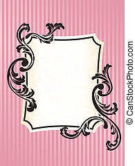 Rectangular Romantic French retro frame in pink - Elegant...