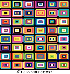 Colorful rectangular shapes with round corners pattern