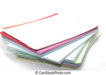 rectangular sheets of colored paper
