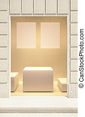 Rectangular showcase exterior with two blank posters and...