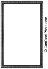 Rectangular silver plated wooden frame Isolated on white background