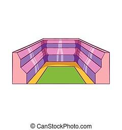 Rectangular stadium icon, cartoon style