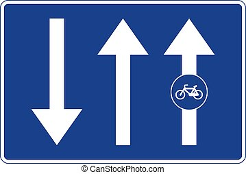 Rectangular traffic signal in blue and white, isolated on white background. Cycle path attached to the road