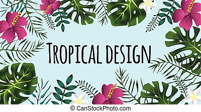 Rectangular tropical frame, template with place for text. Vector illustration, isolated.