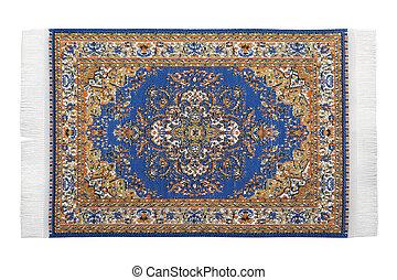Rectangular turkish carpet horizontally lies on white ...