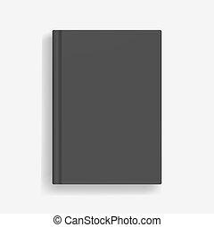 Rectangular vector blank black realistic book mockup