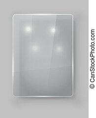 Rectangular vertical protective glass plate vector template.