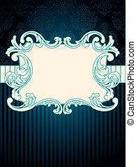 Rectangular vintage rococo label - Elegant deep blue label...