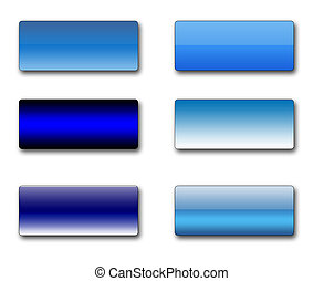 A set of rectangular web buttons in different shades of blue