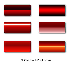 A set of rectangular web buttons in different shades of red