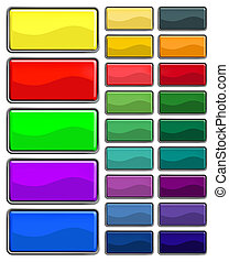 rectangular web buttons with different shiny colors