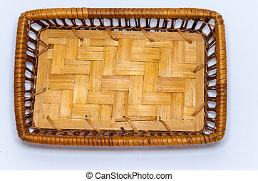 Rectangular wicker basket brown color on a white background