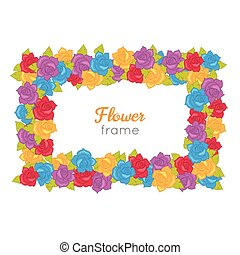 Rectangular Wreath of Different Blossoms. Vector