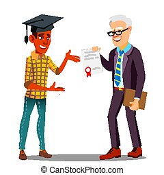 Rector Presenting Diploma To Happy Student In Graduate Cap Vector. Illustration