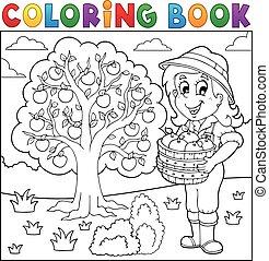 recueilli, girl, livre coloration, pommes