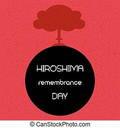 recuerdo, day., vector, hiroshima, illustration.