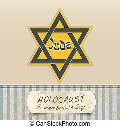 recuerdo, estrella, holocausto, día, david