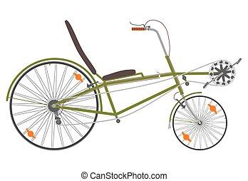 Recumbent bike. - Short recumbent bike on a white...