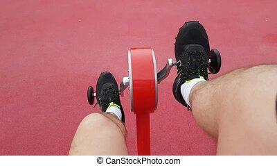 Recumbent Bike Gym outdoors, Sport Training Workout