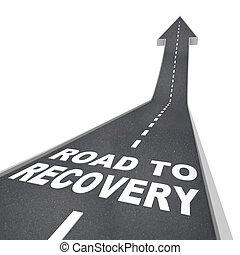 recuperação, -, seta, cima, pavimento, palavras, estrada