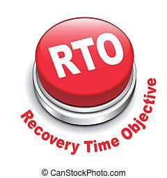 recuperación, botón, ilustración, tiempo, objetivo, rto, 3d