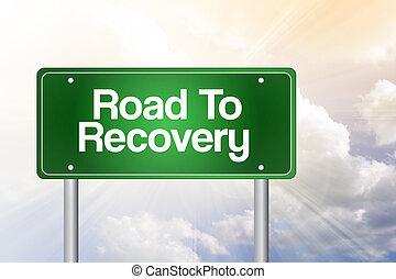 recuperación, empresa / negocio, camino, verde, señal, ...