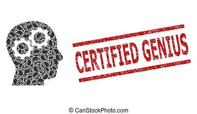 recursion, grunge, engrenages, cerveau, génie, collage, icônes, cachet, certifié