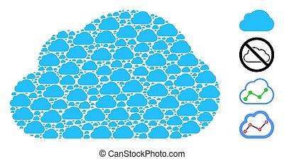 recursive, モザイク, 雲, 項目, 自己