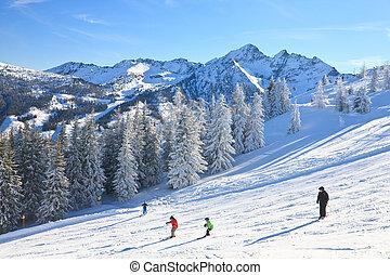 recurso, áustria, schladming, esqui