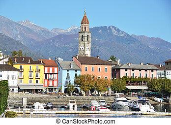 recurso, ascona, lago, famoso, maggiore, suizo