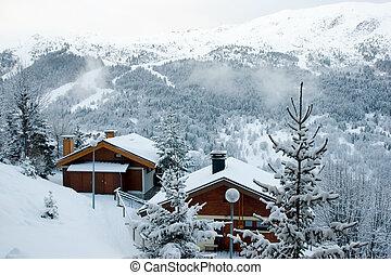 recurso, después, esquí, tormenta de nieve