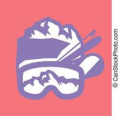recurso, emblemas, esqui, logotipo, etiquetas, emblemas