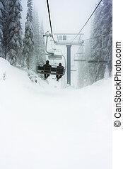 recurso, esquí, telesilla