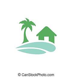 recurso, logotipo, casa, design., playa