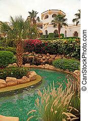 recurso, luxo, tropicais, natação, egypt., piscina, hotel