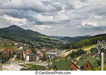 recurso montês, de, bukovel, em, a, ukrainian, carpathians