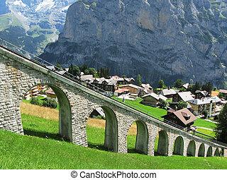 recurso montaña, muerren, carril, famoso, esquí, suizo, ...