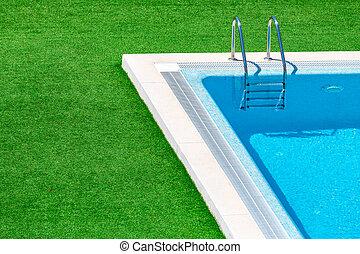 recurso, natação, degrau, piscina, hotel