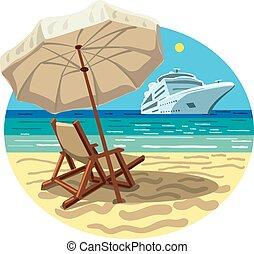 recurso, navio, praia, cruzeiro