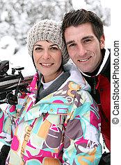 recurso, par, esqui, retrato