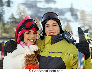 recurso, pareja, joven, esquí