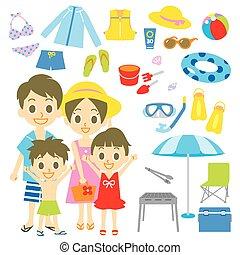 recurso, playa, familia , piscina, artículos