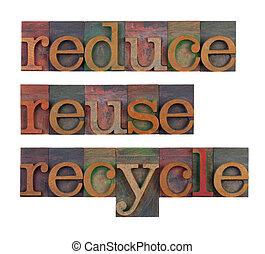 recurso, reutilizar, -, conservação, reduzir, recicle